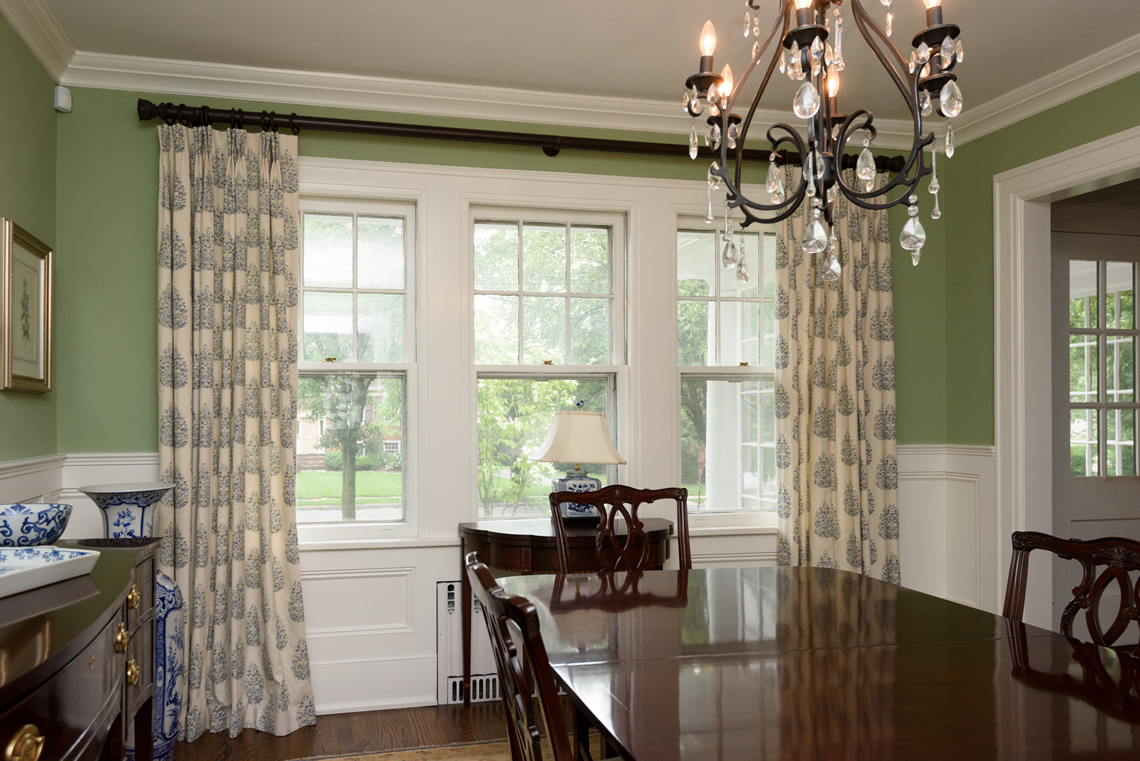 Window treatments coco curtain studio interior design for Dining room curtain ideas