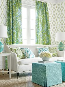Green and turquoise fabrics