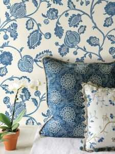 Wallcovering: Clemence - Indigo  Back Pillow: Tournesal - Indigo  with Cartier - Bisque trim  Front Pillow: Emile - Bleu  with Auvillar - Bleu trim  Cushion: Albi Linen - Parchment