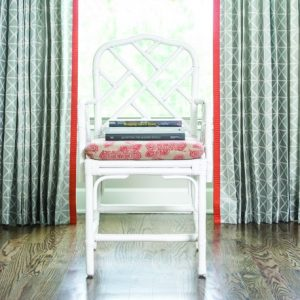 Drapery: Rohu Lattice – Aqua  Drapery Trim: Winnowing – Coral  Chair Cushion: Fetra - Coral
