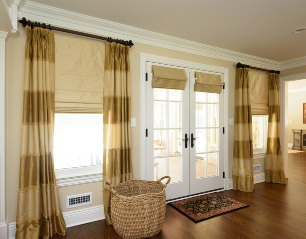 Roman Shades Paired With Panels Custom Window Treatments